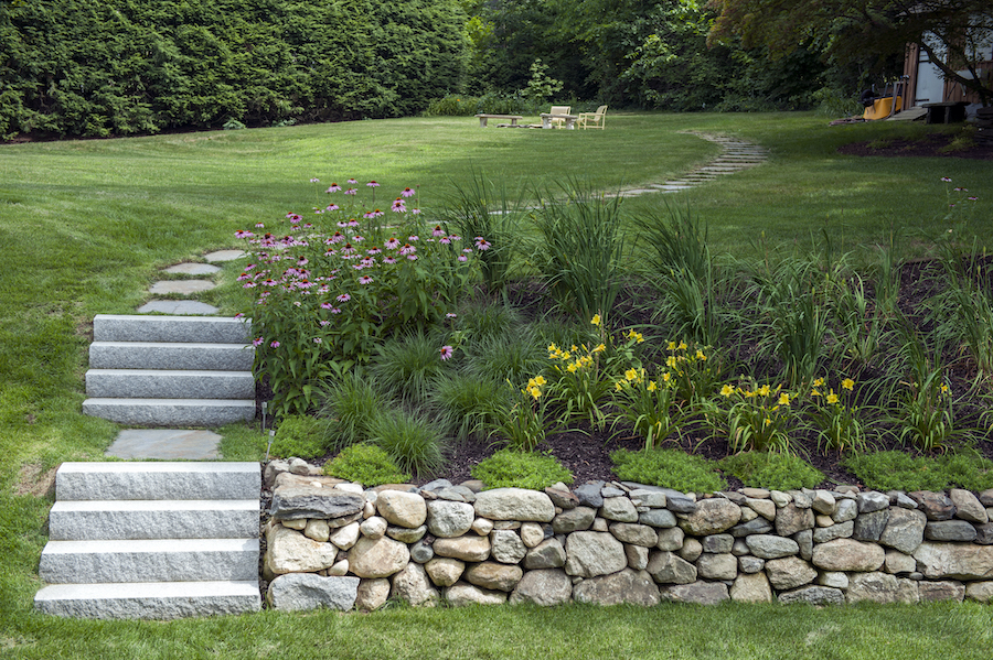Fieldstone Wall, Granite Steps, Stonework, Northampton Massachusetts