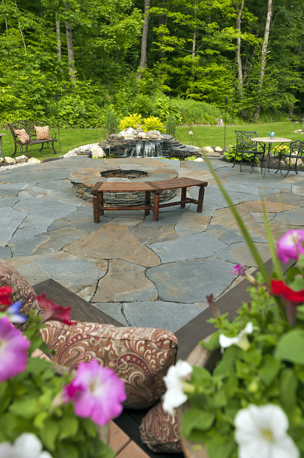 Sugarledge Stone Patio, Fire Pit, And Pond