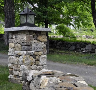 Fieldstone and Granite Stone Pillar Post