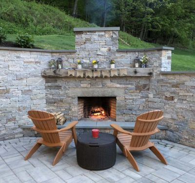 Granite stone fireplace, stonework, Shelburne Falls Massachusetts